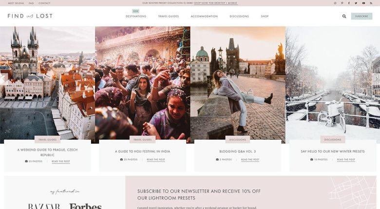Schermata Home page perduta (esempio di progettazione di blog di viaggio)
