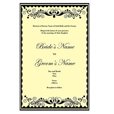 One Sided Wedding Invitations