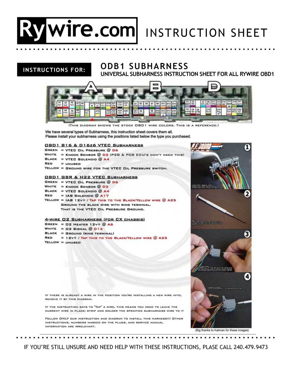 medium resolution of obd1 obd2 vtec subharness rh rywire com 92 95 integra vtec distributor wiring vtec wiring diagram obd1