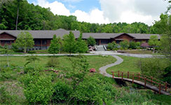 Exterior photo of main building at Chapin Mill Retreat Center