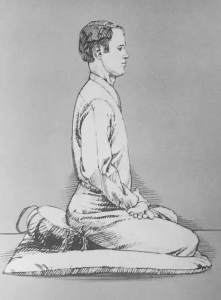 Illustration of man meditating in full lotus, side view