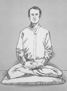 Illustration of man meditating in quarter lotus