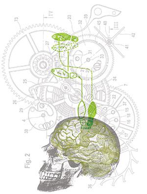 Graphic of skull, brain, machine cogs