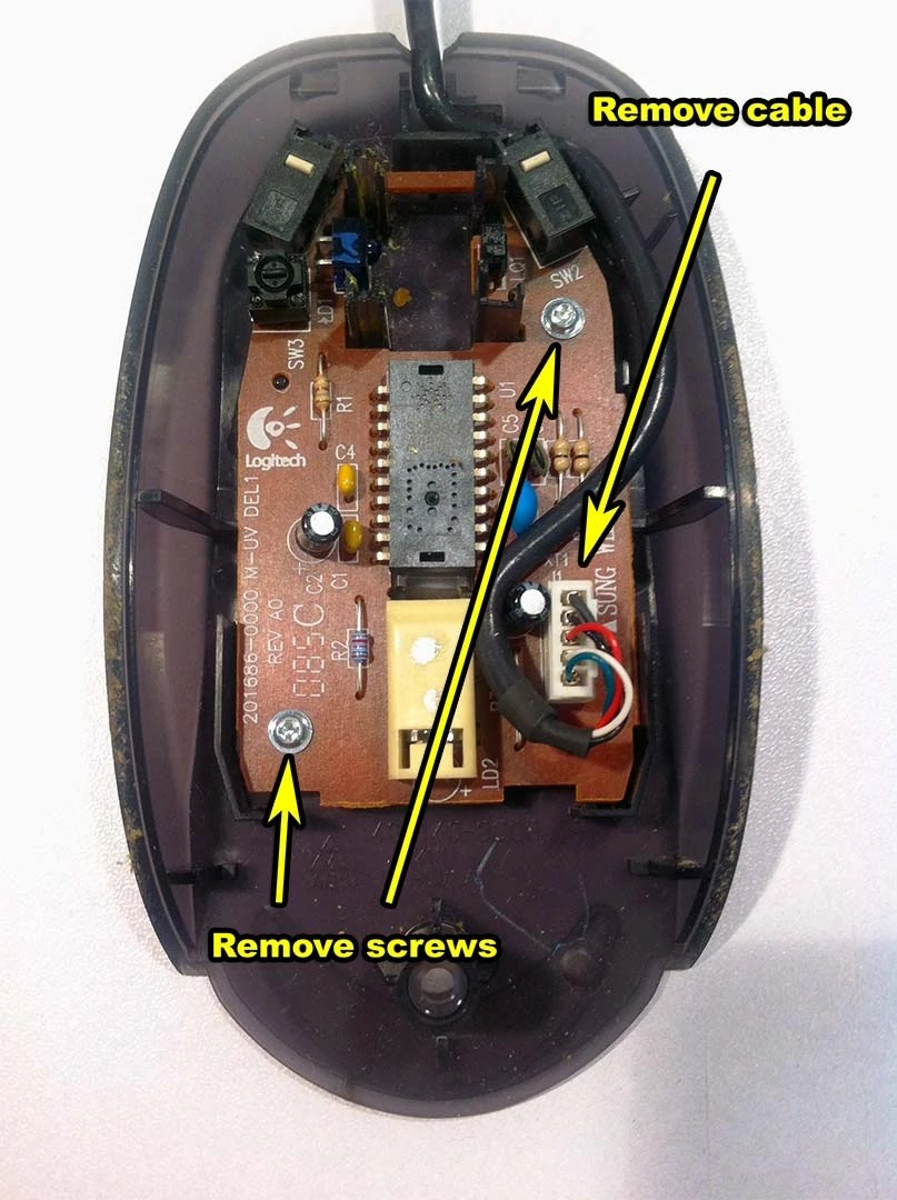 medium resolution of dell mouse diassembly 001 remove cables and screws