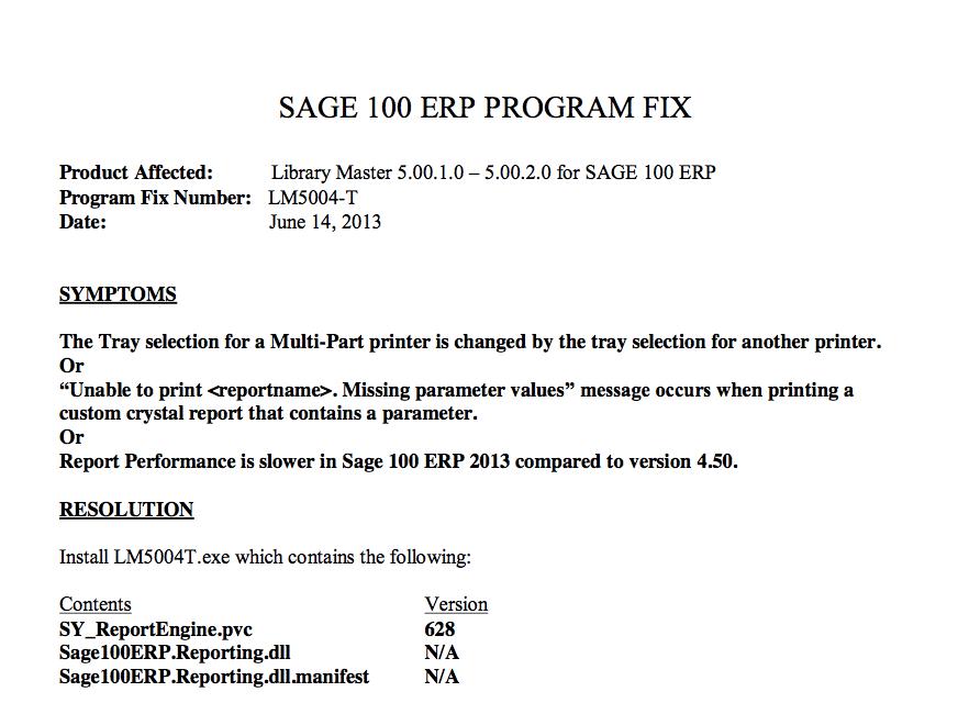 Sage 100 Slow Print Fix
