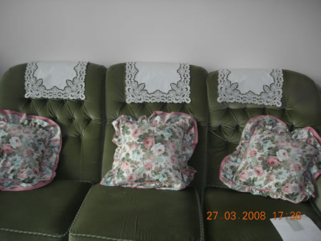 Freestanding lace chair back covers and doily