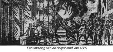 Tekening van de dorpsbrand van 1825 in 's-Gravendeel