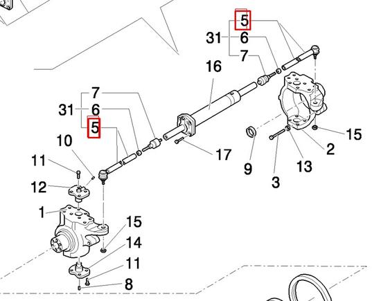 Рулевой наконечник L=318 (4отв, маленькие колеса)