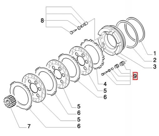 Болты тормозного поршня с пружинами (вариант)