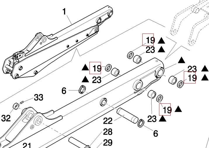 Сальник проушины ГЦ поворота стрелы, ковша и рукояти