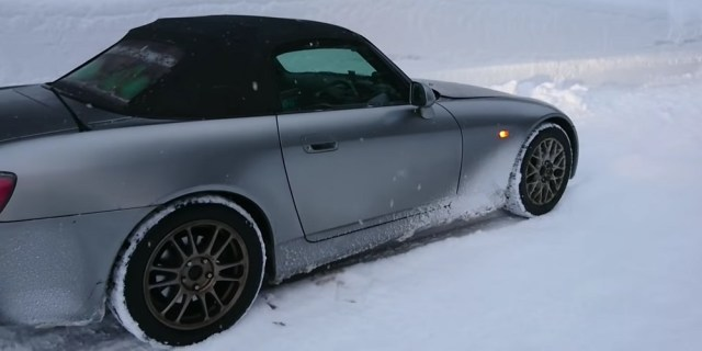Driving Honda S2000 in the Snow