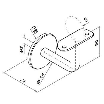 Flat Plate to Tube Mount Handrail Bracket Detail