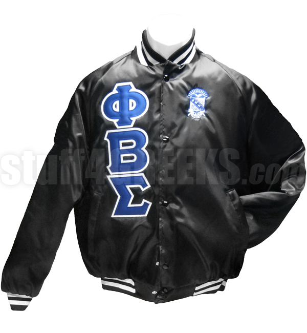 Phi Beta Sigma Greek Letter Satin Baseball Jacket with