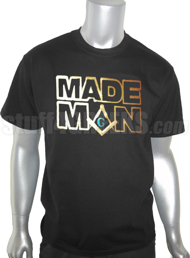 Mason MADE MAN Foil TShirt Black Shirt with Blue and Gold Foil