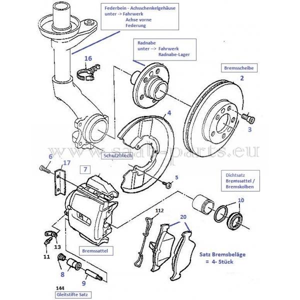 1997-1998: Saab parts 900 Typ 2 ( 1994-1998 ) Bremse vorne