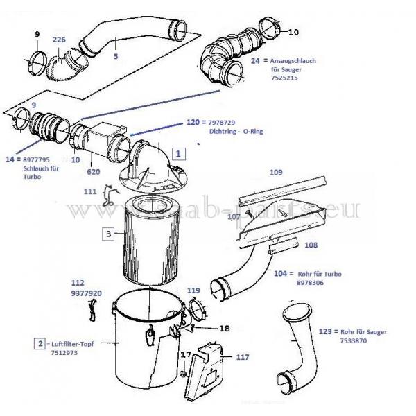 Filter 2,0- ltr 16-V Bosch: Saab parts 900 Typ 1 ( 1990