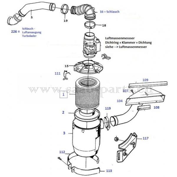 Filter 2,0 ltr 16-V Lucas: Saab parts 900 Typ 1 ( 1990