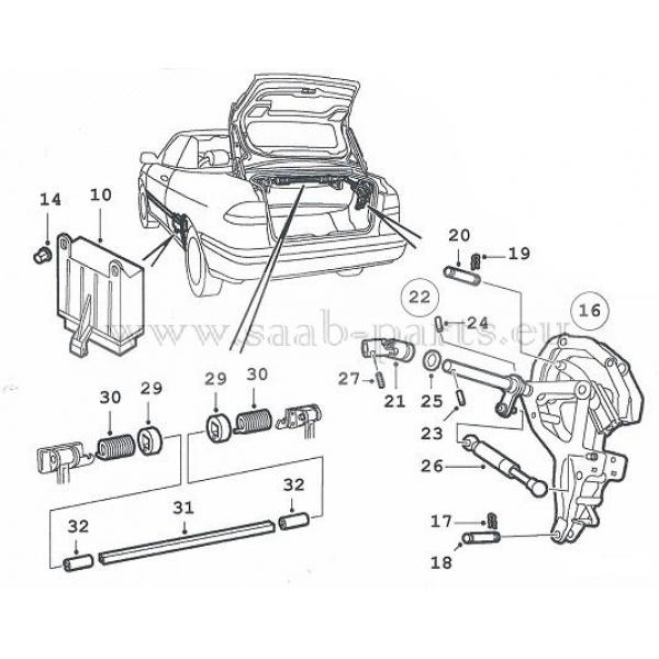 Verdeck Klappe ( 2 ): Saab parts 900-2 Cabrio Cabrio Dach