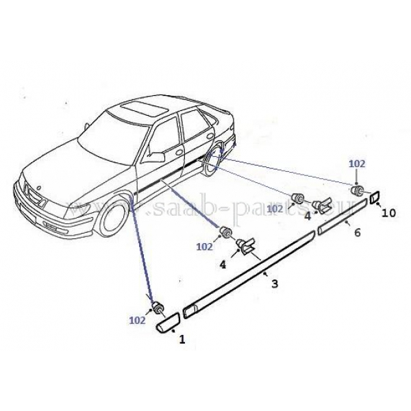 Dekor 5 Türen: Saab parts 9-3 ( 1998-2003 ) Karosserie