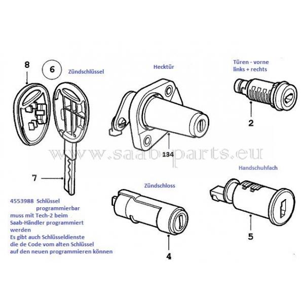 Zylinder + Schlüssel: Schließzylinder Zündschloss mit