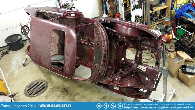 Saab 99 Turbo restoration underway.