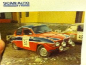 Saab 96 V4 Rally 1969 in original racing colors in the 1970s.
