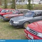 Classic Saab parking area.