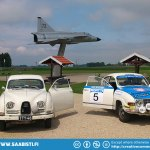 Time to leave Trollhättan. A little photo opportunity to remind us of the airplane heritage of Saab.