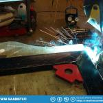 Welding the frame pieces.