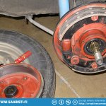 Drum removed. The brake linings were worn enough for the brakes to make a clanking sound when braking.