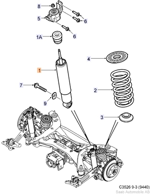 Genuine Saab 9-3 AWD Sport Combi Rear Shock ('08-'10)