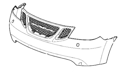 Saab OEM 9-7x Front Bumper Cover ('05-'09) W/Out Washers.
