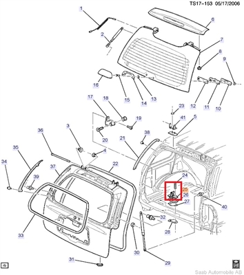 Saab 9-7x Rear Hatch Striker [#25]