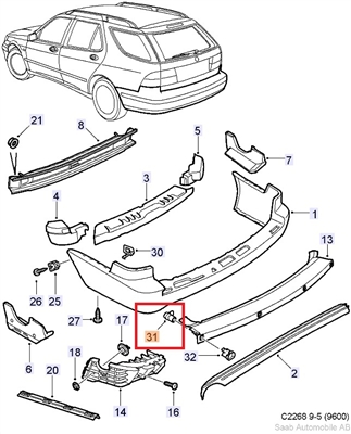 Saab 9-5 Wagon Rear Park Assist Sensor