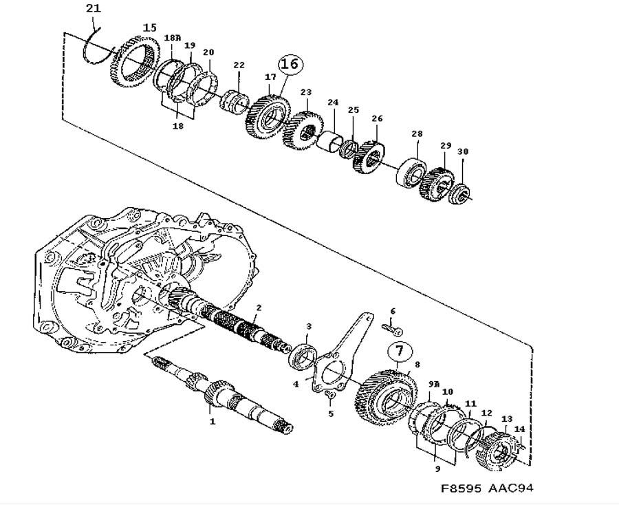Gear box, manual, Shafts, gears, Output shaft Manual