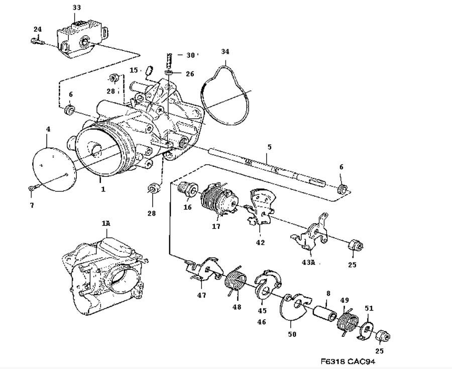Inlet and exhaust system, Throttle housing, 4-cylinder 4