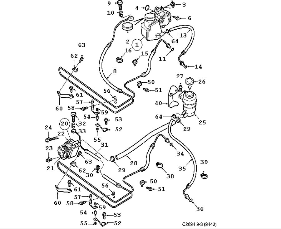 Steering device, Hydraulic pump, hoses 4 door Convertible