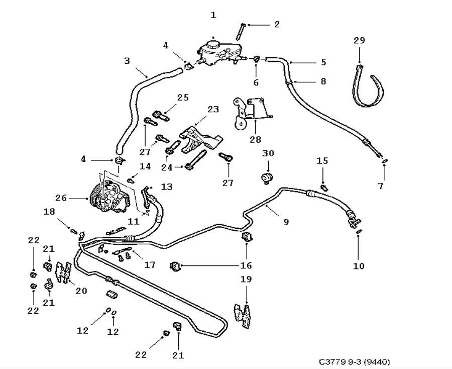 Steering device, Hydraulic pump, hoses 6 Cylinder 4 door
