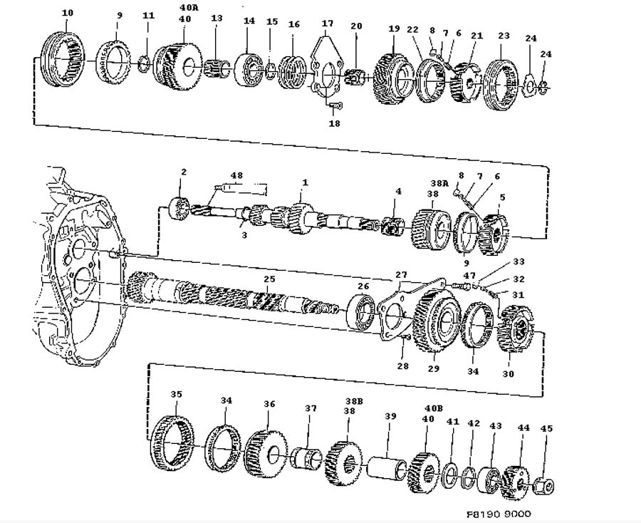 Gear box, manual, Shafts, gears Manual