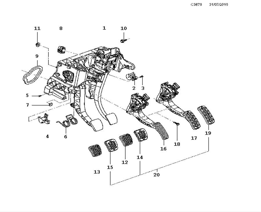 Footbrake system, Pedal box Manual