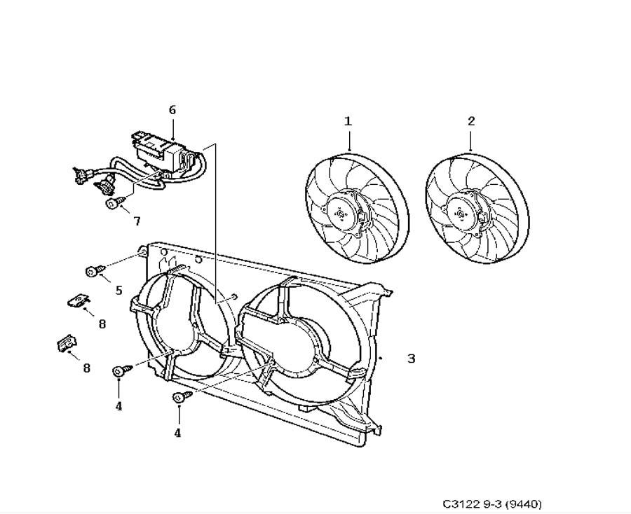 Cooling system, Fan motor, Twin fan 4 Cylinder