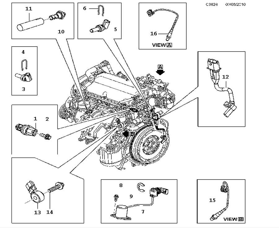 Inlet and exhaust system, Sensor, Sensor A16LET,4 Cylinder