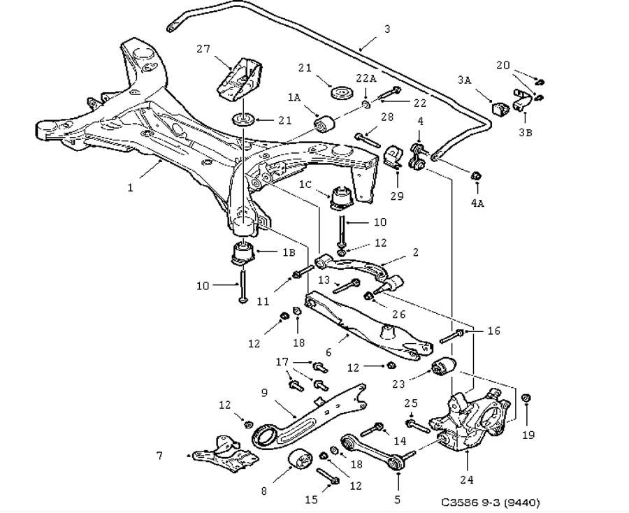 Rear axle, All wheel drive (XWD) 6 Cylinder 4 door 5 door