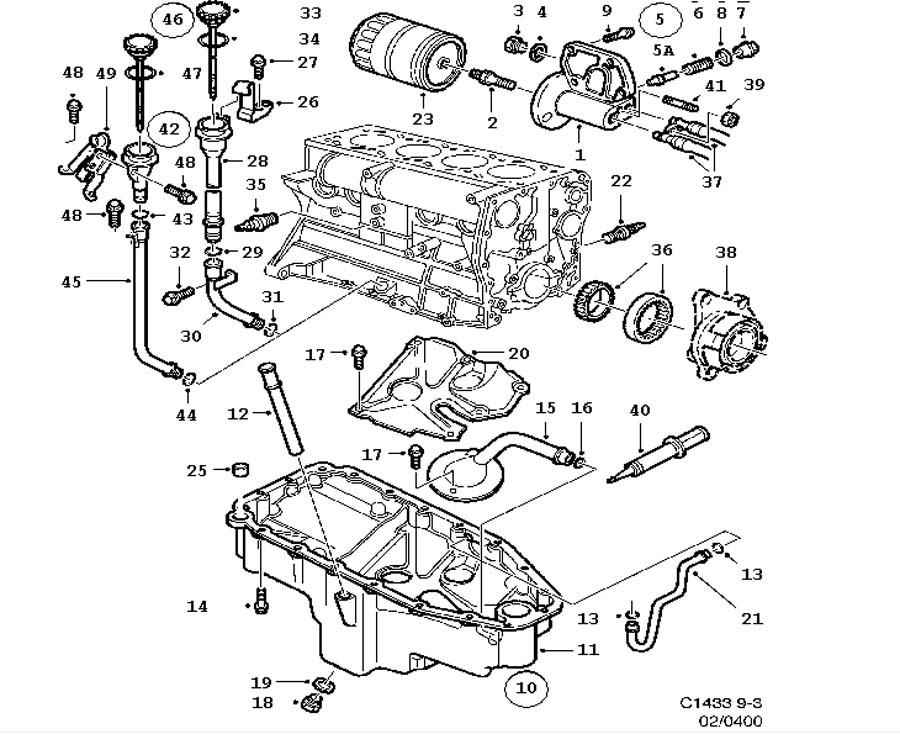 Lubrication system, Oil pan, oil filter 4 Cylinder