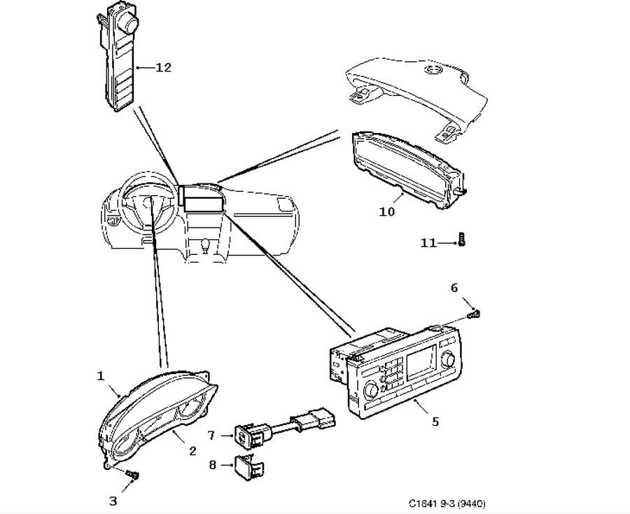 Wiring and fuses, Instrument 4 door Convertible
