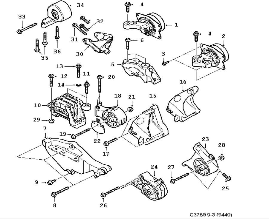 Short block, Engine suspension 6 Cylinder