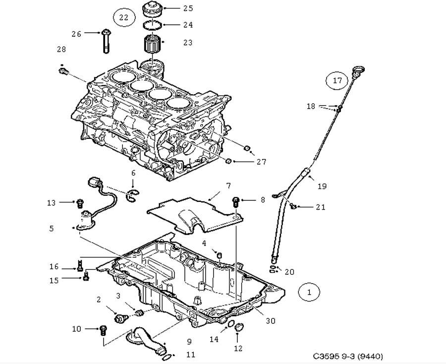 Lubrication system, Oil pan, oil filter 4 Cylinder