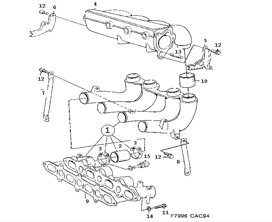 Inlet and exhaust system, Inlet manifold 4 Cylinder I