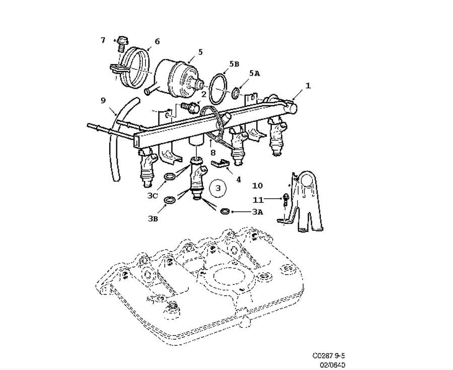 Fuel system, Fuel rail 4 Cylinder