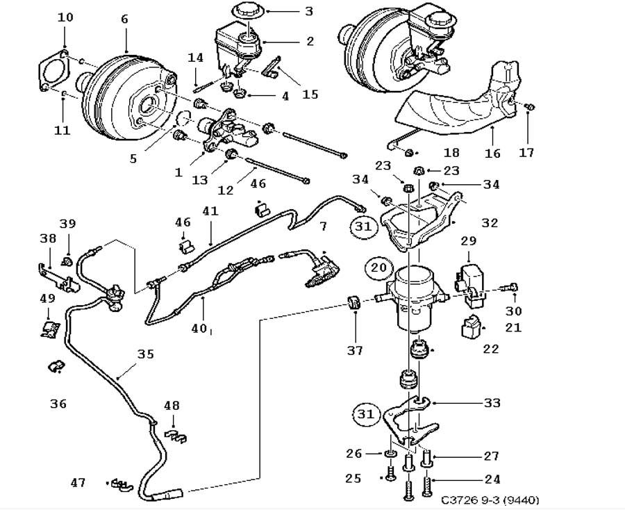 Footbrake system, Master cylinder, vacuum brake booster 6